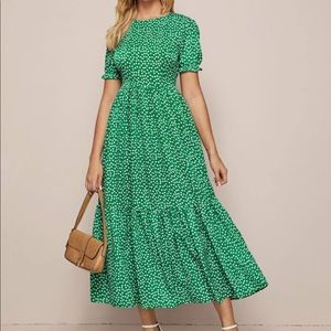 Boho dot floral flounce sleeve dress